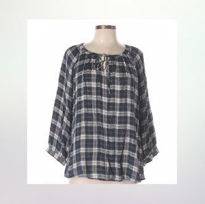 Ann Taylor Loft Blouse 3/4 Sleeve Plaid  Size L